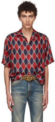 Gucci Red and Navy GG Logo Shirt