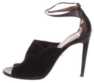 Aquazzura Peep-Toe Suede Sandals