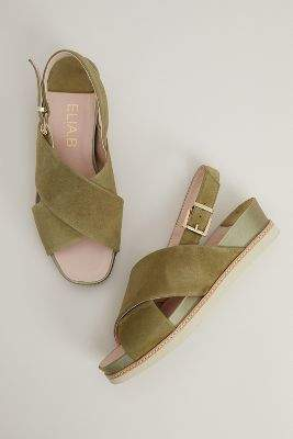 Elia B Antonia Suede Cutout-Wedge Sandals
