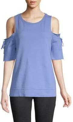 Sanctuary Tie-Sleeve Cotton Cold-Shoulder Top