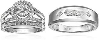 Triton 10k Diamond Trio Wedding Ring Set (1/2cttw