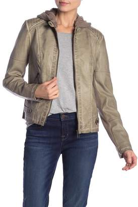 Sebby Distressed Zip Moto Faux Leather Jacket
