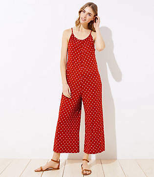 LOFT Beach Dotted Cutout Jumpsuit