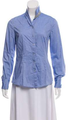 Rivamonti Asymmetrical Collar Button-Up Top