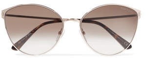 Tom Ford Zeila Cat-eye Rose Gold-tone And Tortoiseshell Acetate Sunglasses - Beige