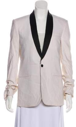 Balenciaga Peak-Lapel Long Sleeve Blazer