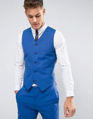 Asos DESIGN Wedding Skinny Vest In Dusky Blue