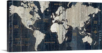 Great Big Canvas 'Old World Map Blue' Graphic Art Print Format: Black Framed,