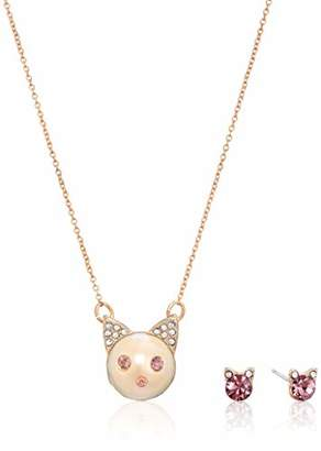 Betsey Johnson GBG) Pearl Cat Pendant Necklace and Stone Stud Earrings Set