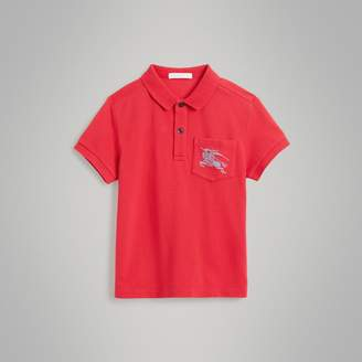 Burberry Childrens EKD Logo Cotton Piqué Polo Shirt