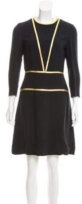 Prada Metallic-Trimmed Mini Dress