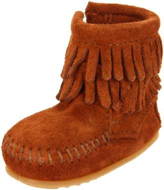 Minnetonka Double Fringe Side Zip Bootie, Unisex Baby Crawling Baby Shoes,Baby UK (20 EU)