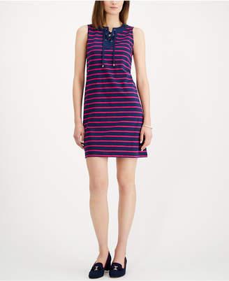 Charter Club Petite Striped Lace-Up Shift Dress