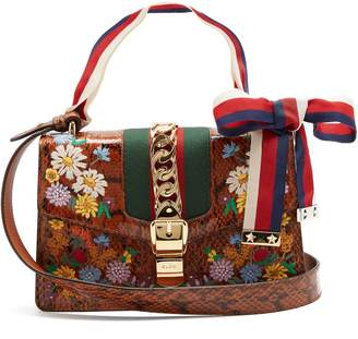 Gucci Floral-embroidered watersnake shoulder bag