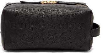 Burberry Grained Leather Wash Bag - Mens - Black