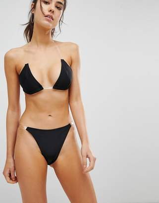 Missguided Clear Strap Bikini Bottom