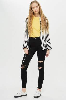 Topshop MOTO Black Super Rip Leigh Jeans