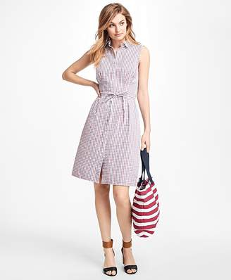 Checked Cotton Seersucker Shirt Dress $78 thestylecure.com