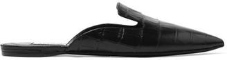 Attico - Elena Croc-effect Leather Slippers - Black
