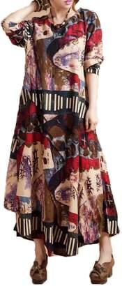 HUAHONG 2015 Women's 100%cotton 3/4 Sleeve Paisley Print Dresses Vintage Dress