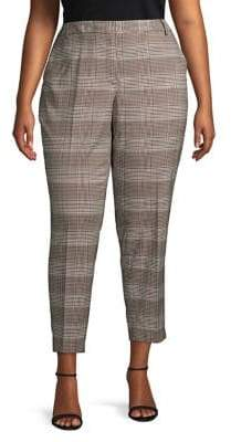 Calvin Klein Plus Herringbone Plaid Trousers