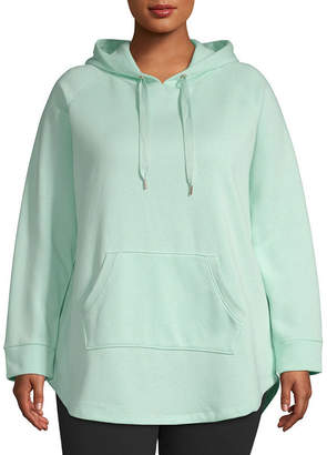 Xersion Womens Hooded Neck Long Sleeve Tunic Top-Plus