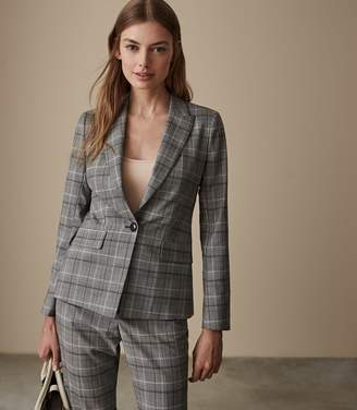 Reiss ORA JACKET CHECKED TAILORED BLAZER Grey