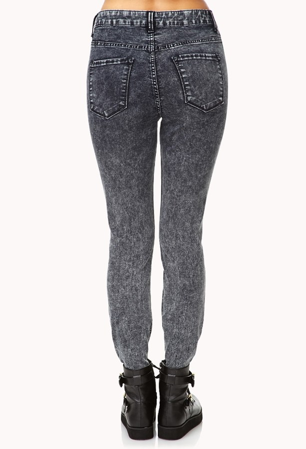 Forever 21 High-Waisted Acid Wash Jeans