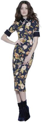 Alice + Olivia Delora Fitted Collared Midi Dress