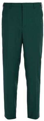 Prada Straight Leg Wool Blend Trousers - Mens - Green