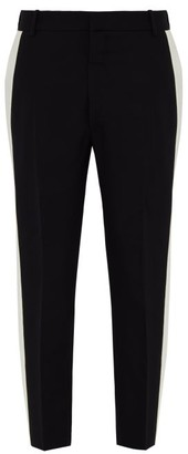 Alexander McQueen Contrast Stripe Slim Fit Wool Blend Trousers - Mens - Black