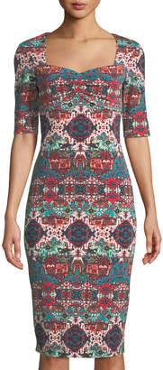 London Times Dorit Half-Sleeve Sweetheart Midi Dress