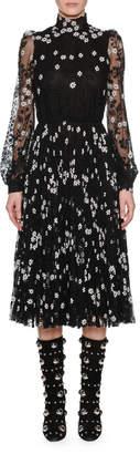 Giambattista Valli Crewneck Long-Sleeve Fit-and-Flare Floral-Print Midi Dress