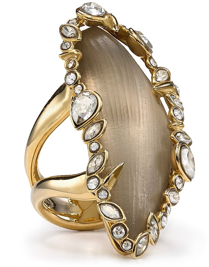 Alexis Bittar Lucite Jagged Edge Crystal Framed Two-Tone Cocktail Ring