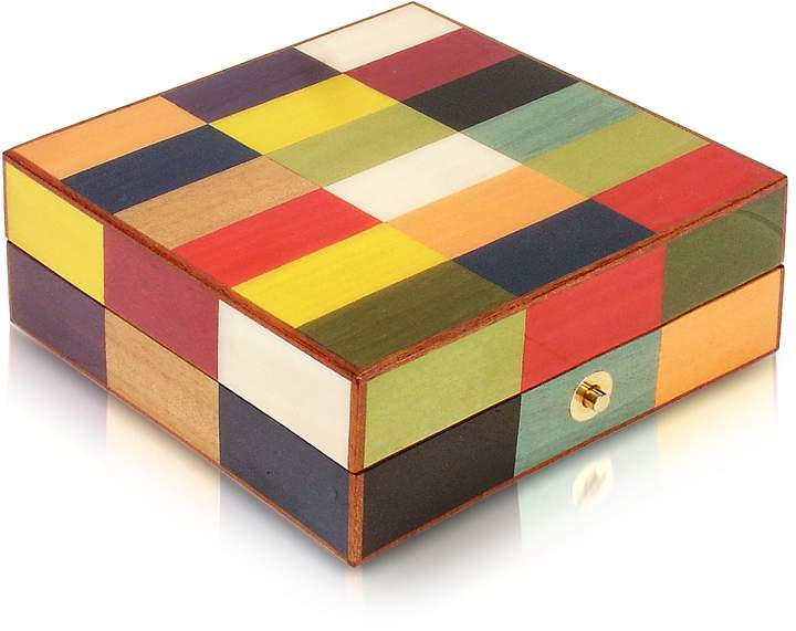 Forzieri Multicolor Inlaid Wood Jewelry Box