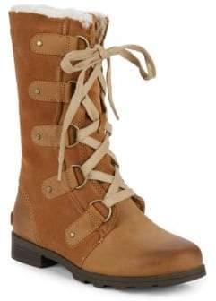 Sorel Emelie Faux-Fur Lace-Up Leather Boots