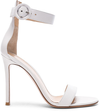 Gianvito Rossi Leather Portofino Heels in White | FWRD