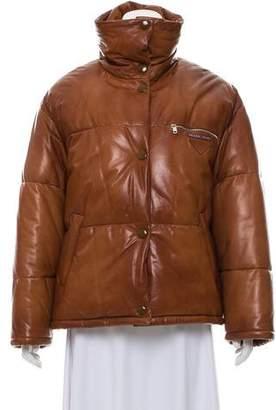 Prada Leather Puffer Jacket w/ Tags