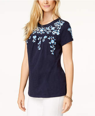 Charter Club Plus Size Cotton Embroidered Peasant T-Shirt