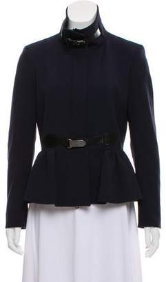 Burberry Leather-Trimmed Peplum Jacket