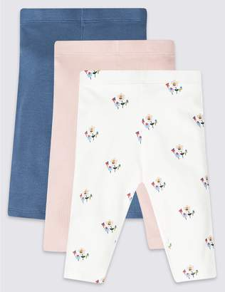 Marks and Spencer 3 Pack Cotton Leggings with Stretch