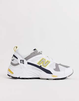 New Balance 878 white yellow chunky trainers