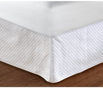 "Global Trends Diamond Bar Quilted White Bed Skirt 18"" Queen"