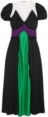 ATTICO Carlotta Color-Block Satin Maxi Dress