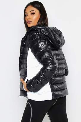 boohoo Tall Reflective Panel Quilted Jacket