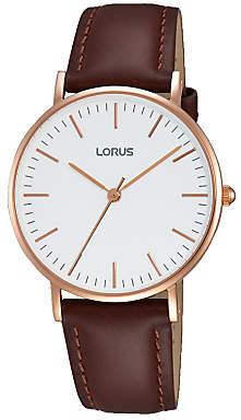 Lorus RH886BX9 Women's Leather Strap Watch, Brown/White