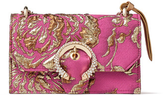 Jimmy Choo PARIS Pink and Gold Brocade Top Handle Bag with Crystal Buckle
