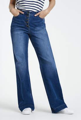 Wide Leg Button Front Jean