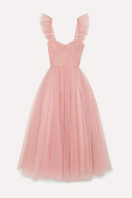 Monique Lhuillier Ruffled Ruched Tulle And Silk Crepe De Chine Gown - Pastel pink