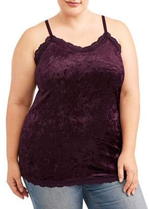 Eye Candy Juniors' Plus Iced Velvet Lace Trimmed Cami Tank